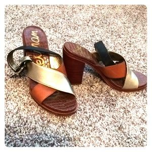 Sam Edelman Gold, brown and Black sandals for Fall